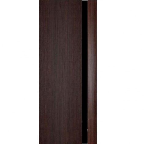 Межкомнатная дверь МДФ Экошпон Ладора Модель 3/1 черный триплекс Африканский орех