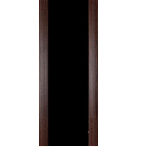 Межкомнатная дверь МДФ Экошпон Ладора Модель 3/3 черный триплекс Африканский орех