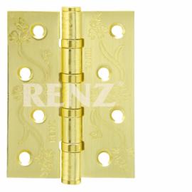 Петля дверная стальная универсальная RENZ декоративная DECOR FL 100-4BB FH SG Латунь матовая