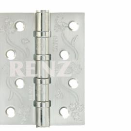 Петля дверная стальная универсальная RENZ декоративная DECOR FL 100-4BB FH SN Никель матовый