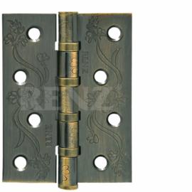 Петля дверная стальная универсальная RENZ декоративная DECOR FL 100-4BB FH AB Бронза античная