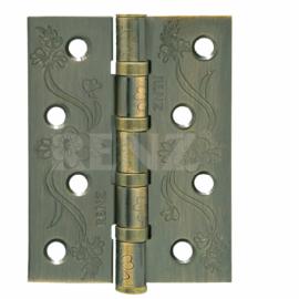 Петля дверная стальная универсальная RENZ декоративная DECOR FL 100-4BB FH MAB Бронза античная матовая