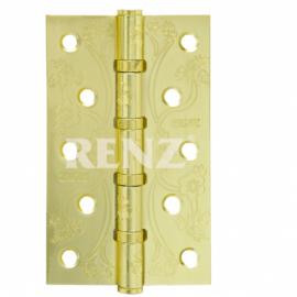 Петля дверная стальная универсальная RENZ декоративная DECOR FL 125-4BB FH SG Латунь матовая