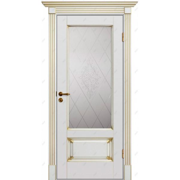 Межкомнатная дверь Авалон 12 (витраж Версаль) патина