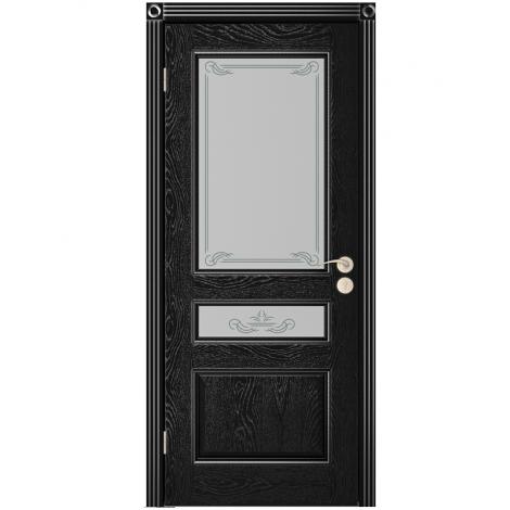 Межкомнатная дверь шпонированная Вена ДО, Эмаль чёрная