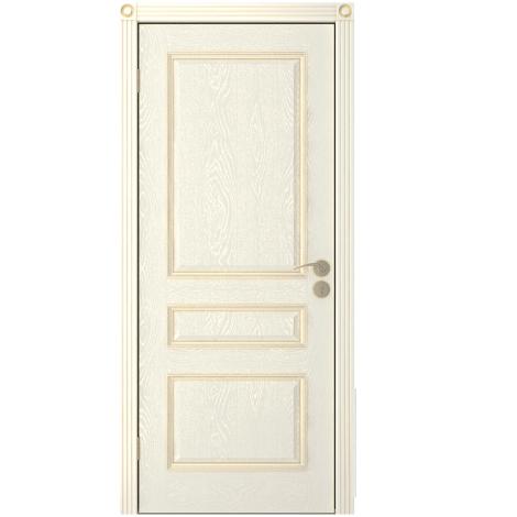 Межкомнатная дверь шпонированная Вена ДГ, Эмаль кремовая
