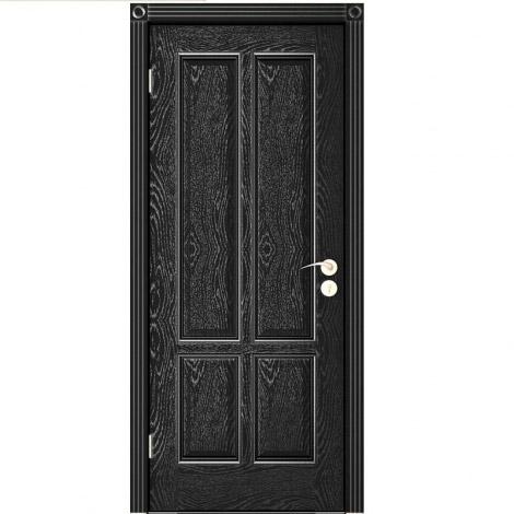 Межкомнатная дверь шпонированная Плимут ДГ Эмаль черная